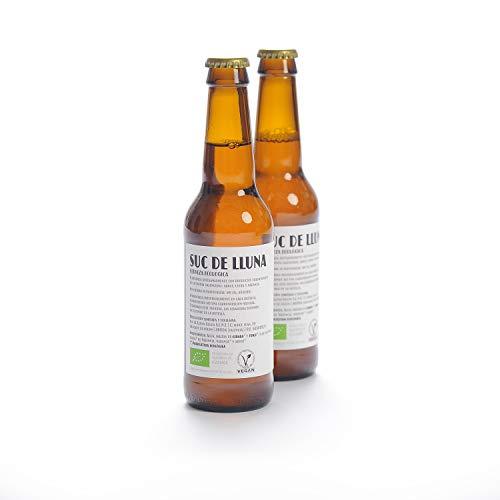 Cerveza Ecológica de Malta - Suc de Lluna. Matices de chufa, naranja y arroz. Sin filtrar ni pasteurizar. Botellín de 330 ml.