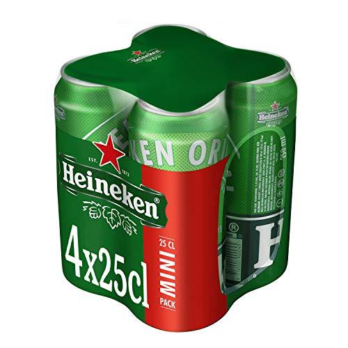 Heineken Cerveza, Pack de 4 Latas x 25 cl
